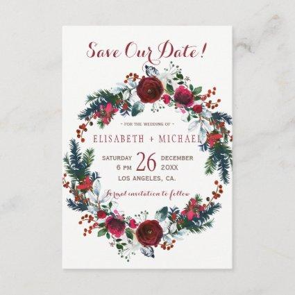 Simple chic floral winter wreath save date wedding save the date