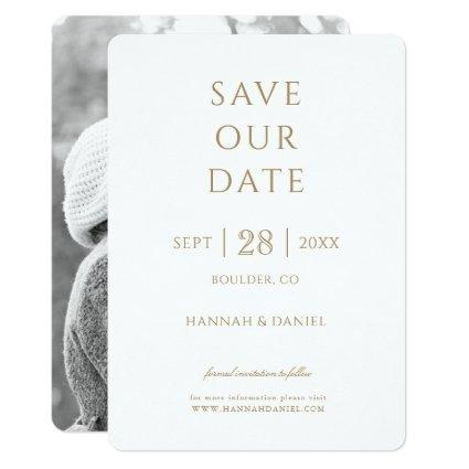 Simple Chic Gold Photo Wedding Save the Date Invitation
