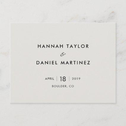 Simple Chic Minimalist Wedding Save the Date Announcement
