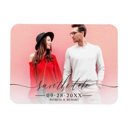 Simple Chic Script Wedding Save The Date Magnets