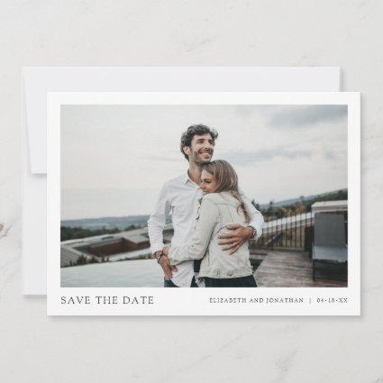 Simple Chic Wedding Save the Date Card with Photo