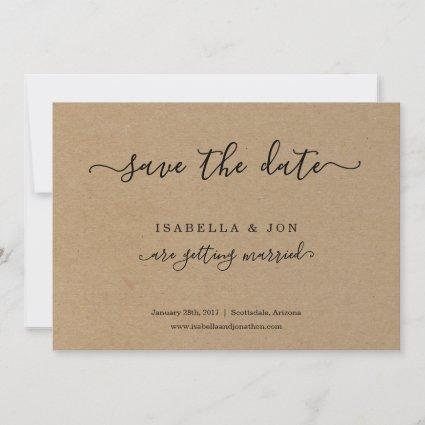 Simple Classic Save the Date Kraft Paper Announcement