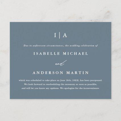 Simple Dusty Blue Monogram Wedding Postponement Announcement