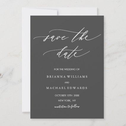 Simple Elegant Calligraphy GraySave the Date Save The Date
