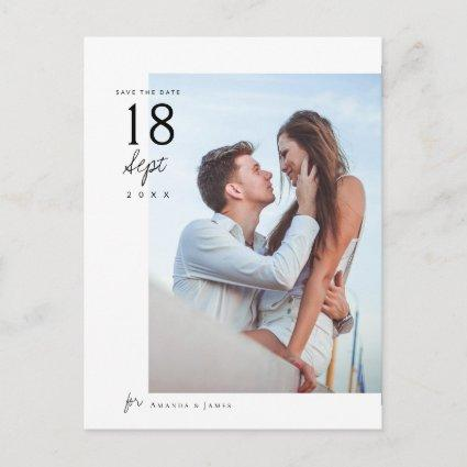 Simple Elegant Chic Photo Wedding Save the Date Announcement