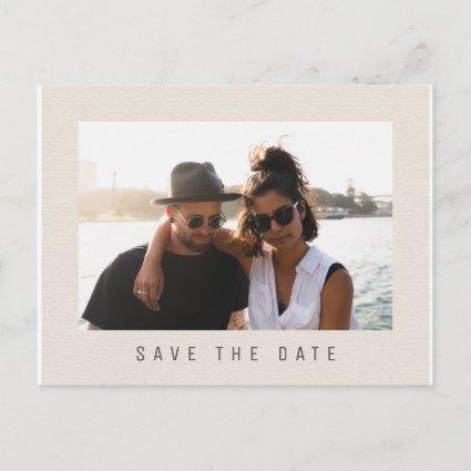 Simple elegant cream brown wedding photo save date announcement