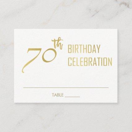 SIMPLE ELEGANT FAUX GOLD TYPOGRAPHY 70 BIRTHDAY PLACE CARD