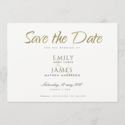 SIMPLE ELEGANT GOLD GREY TYPOGRAPHY  SAVE THE DATE