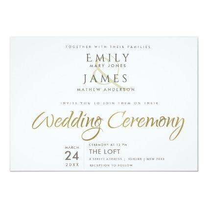 SIMPLE ELEGANT GOLD GREY TYPOGRAPHY WEDDING INVITATION