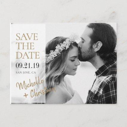 Simple Elegant Gold Photo Wedding Save the Date Announcement