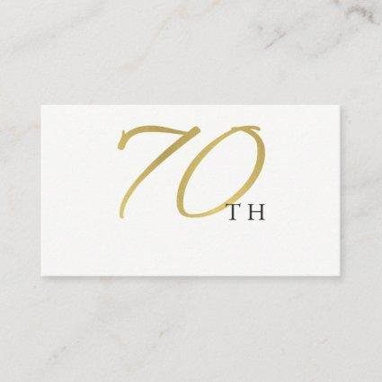 SIMPLE ELEGANT GOLD WHITE TYPOGRAPHY 70 BIRTHDAY PLACE CARD