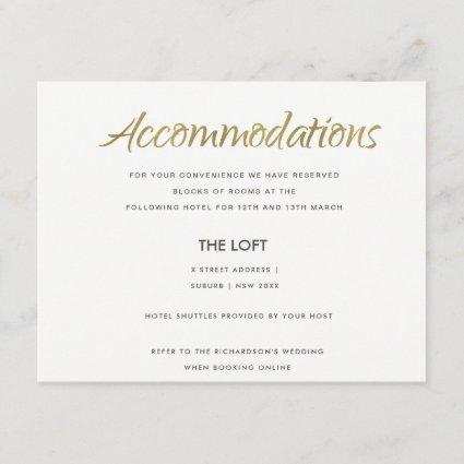 SIMPLE ELEGANT KRAFT GOLD TYPOGRAPHY ACCOMMODATION ENCLOSURE CARD
