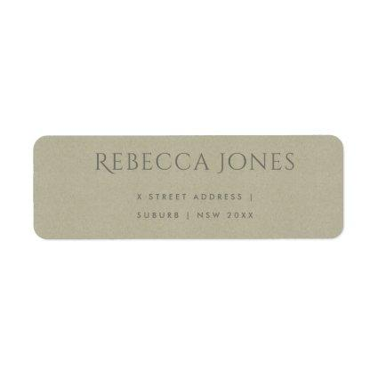 SIMPLE ELEGANT KRAFT GREY TYPOGRAPHY ADDRESS LABEL