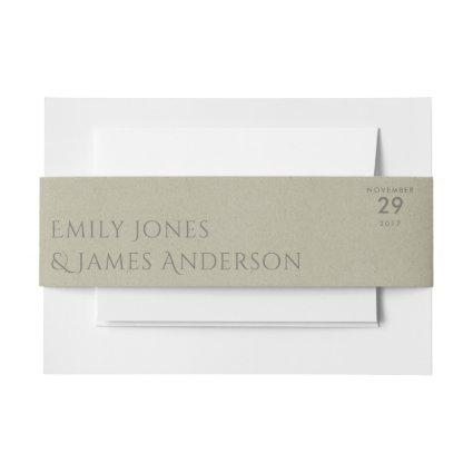 SIMPLE ELEGANT KRAFT GREY TYPOGRAPHY TEXT ONLY INVITATION BELLY BAND