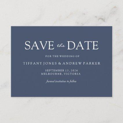 Simple Elegant Modern Blue Wedding Save the date