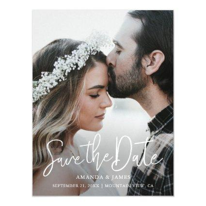 Simple Elegant Modern Script  Photo Save the Date Magnetic Invitation