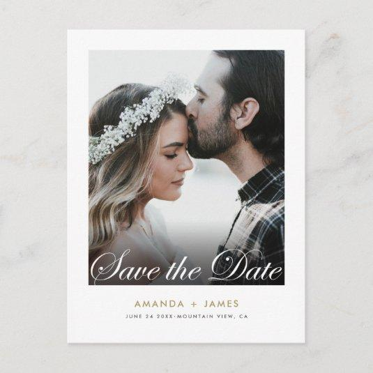 Simple Elegant Script Photo Custom Save the Date Announcement