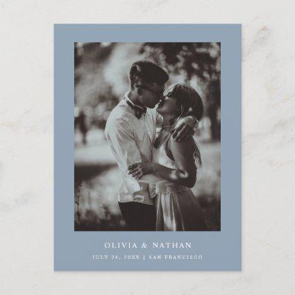 Simple Elegant Text and Photo | Blue Save the Date Announcement