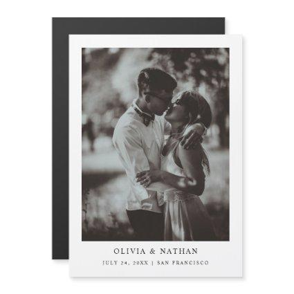 Simple Elegant Text and Photo | Save The Date Magnetic Invitation