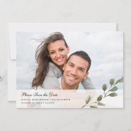 Simple Elegant Watercolor Leaves   Two Photo Save The Date