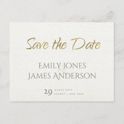 SIMPLE ELEGANT WHITE GREY TYPOGRAPHY SAVE THE DATE ANNOUNCEMENT
