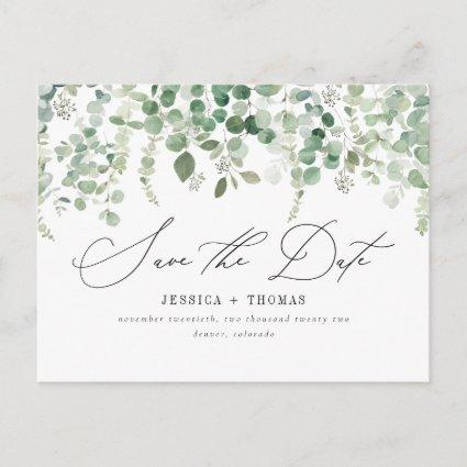 Simple Eucalyptus Modern Calligraphy Save The Date Announcement