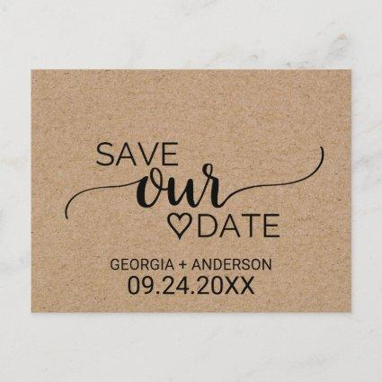 Simple Faux Kraft Calligraphy Save Our Date Announcement