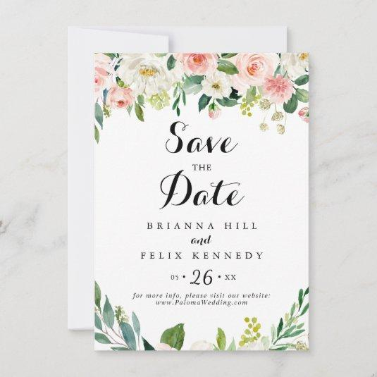 Simple Floral Green Foliage Calligraphy Wedding Save The Date