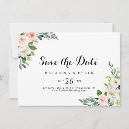 Simple Floral Green Foliage Horizontal Wedding Save The Date