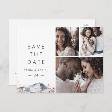 Simple Floral Mountain 3 Photo Save the Date Invitation