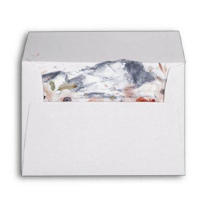 Simple Floral Mountain Wedding Invitation Envelope