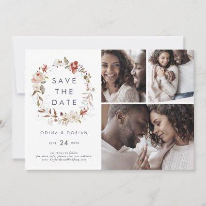 Simple Floral Wreath 3 Photo Collage Save The Date