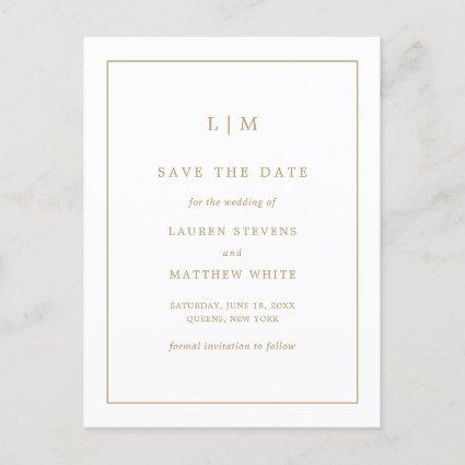Simple Gold and White Monogram Save the Date Announcement