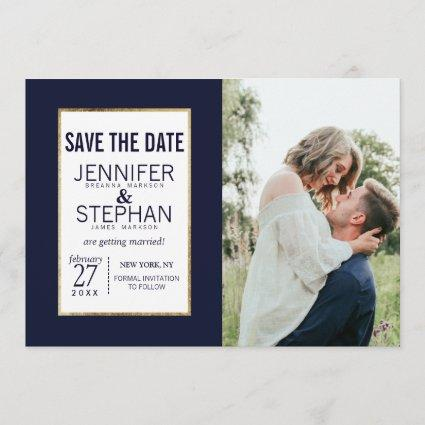 Simple Gold Lined Navy Blue Save the Dates Save The Date