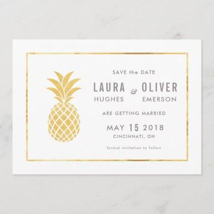 Simple Gold Pineapple Save the Date Cards