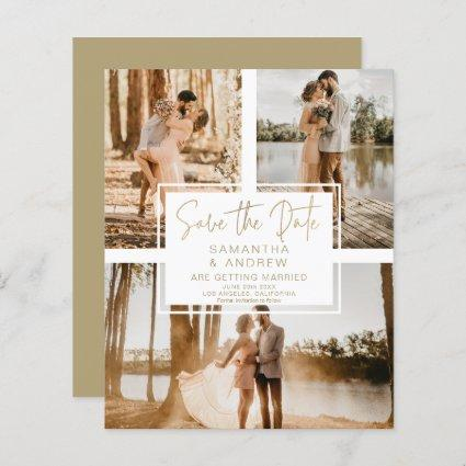 Simple gold save the date 3 photo budget wedding