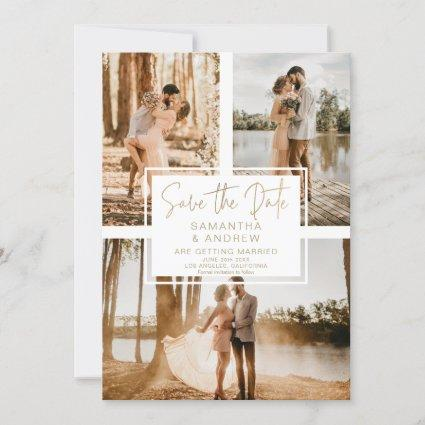 Simple gold save the date 3 photo grid collage