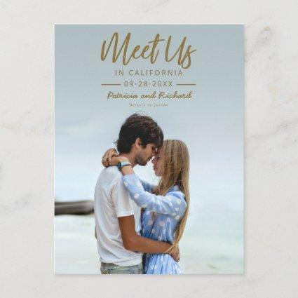 Simple Gold Script Meet Us In Save The Date Photo