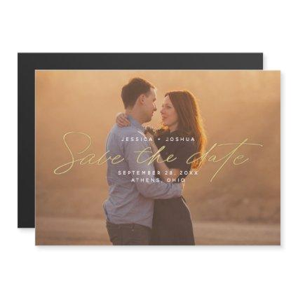 Simple Gold Script Overlay Photo Save the Date Magnetic Invitation