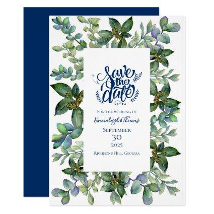 Simple Greenery Navy Blue Save the Date Invitation