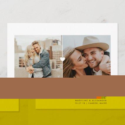Simple Heart Diptych Save the Date Card