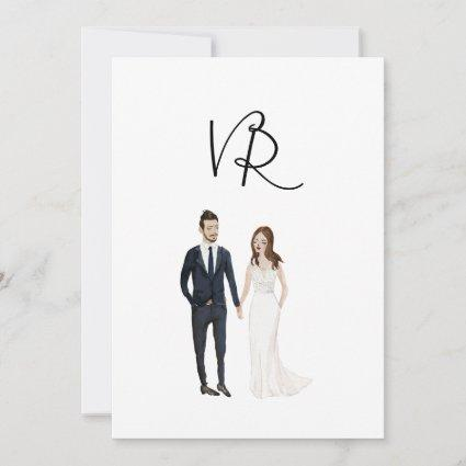 Simple Illustrated Couple Navy Suit Save The Date