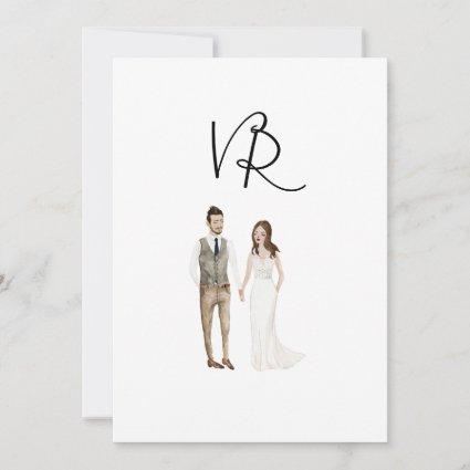 Simple Illustrated Couple Save The Date