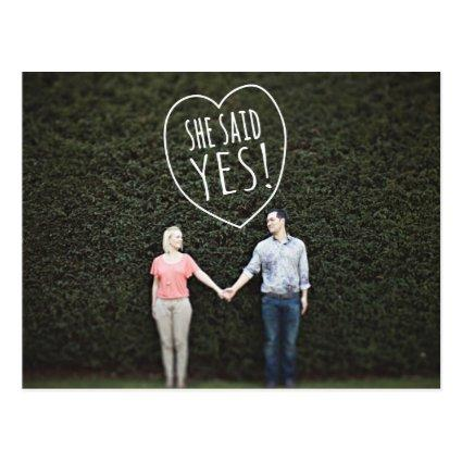 Simple Love She Said Yes Save the Date Cards