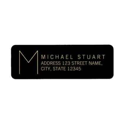 Simple Modern Black and Gold Monogram Label
