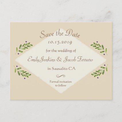 Simple Modern Botanical Wedding Save the Date Announcement