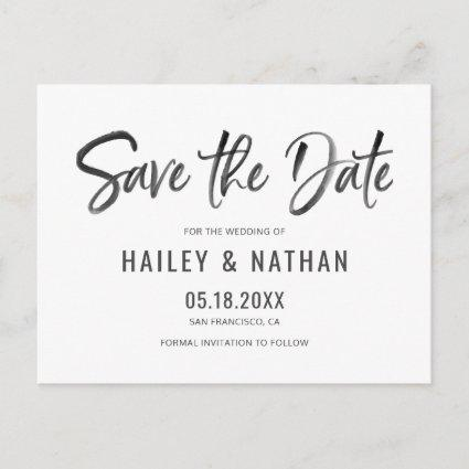 Simple Modern Brush Save The Date Announcement