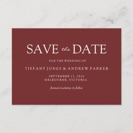 Simple Modern Burgundy Red Wedding Save the date