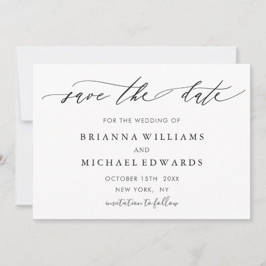 Simple Modern Calligraphy Wedding Save the Date