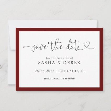 Simple Modern Elegant Save the Date Burgundy